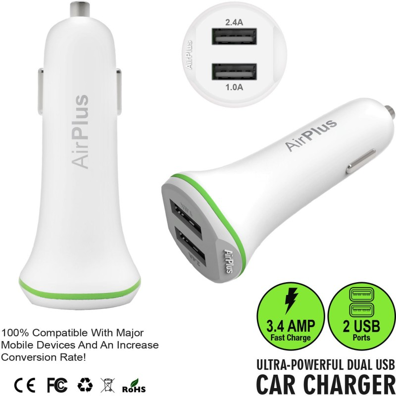 Airplus Universal Car Charger Adapter Dual USB 2.4A+1.0 Amp (Total 3.4A) Mobile Charger(White)