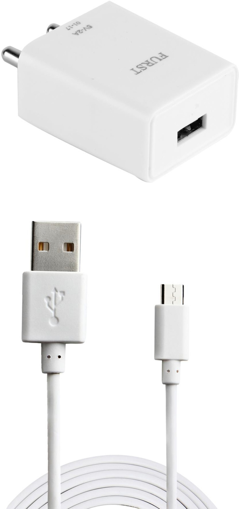 Furst 2A. Fast Charger with Cable (1 Mtr) For Moto G (Gen 2) Mobile Charger(White)