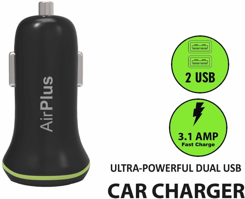 Airplus Universal Car Charger Adapter Dual USB 2.1A+1.0 Amp (Total 3.1A) Mobile Charger(Black)