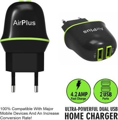 AirPlus Dual USB Universal AC wall Travel Home charger Adapter with 3.0A+1.2A (Total 4.2A) Battery Charger