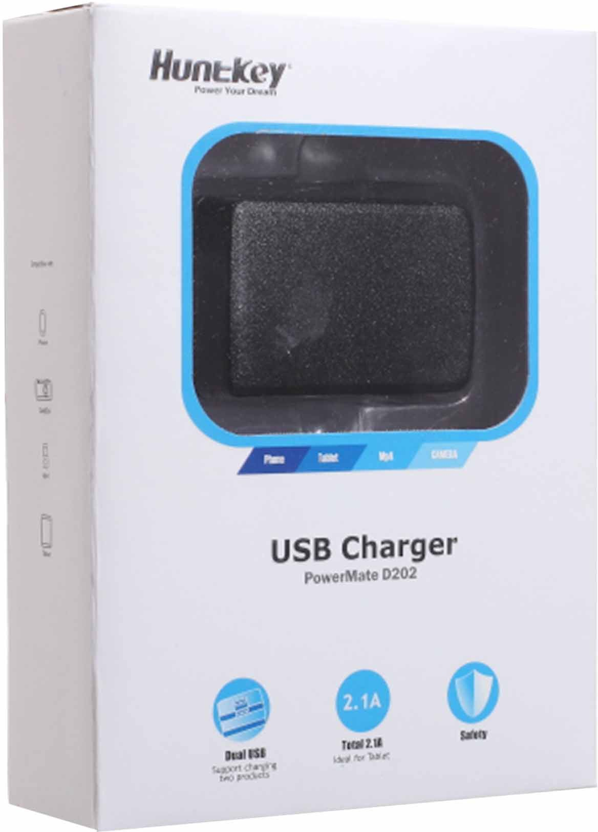 Huntkey Dual USB Charger Mobile Charger(Black)