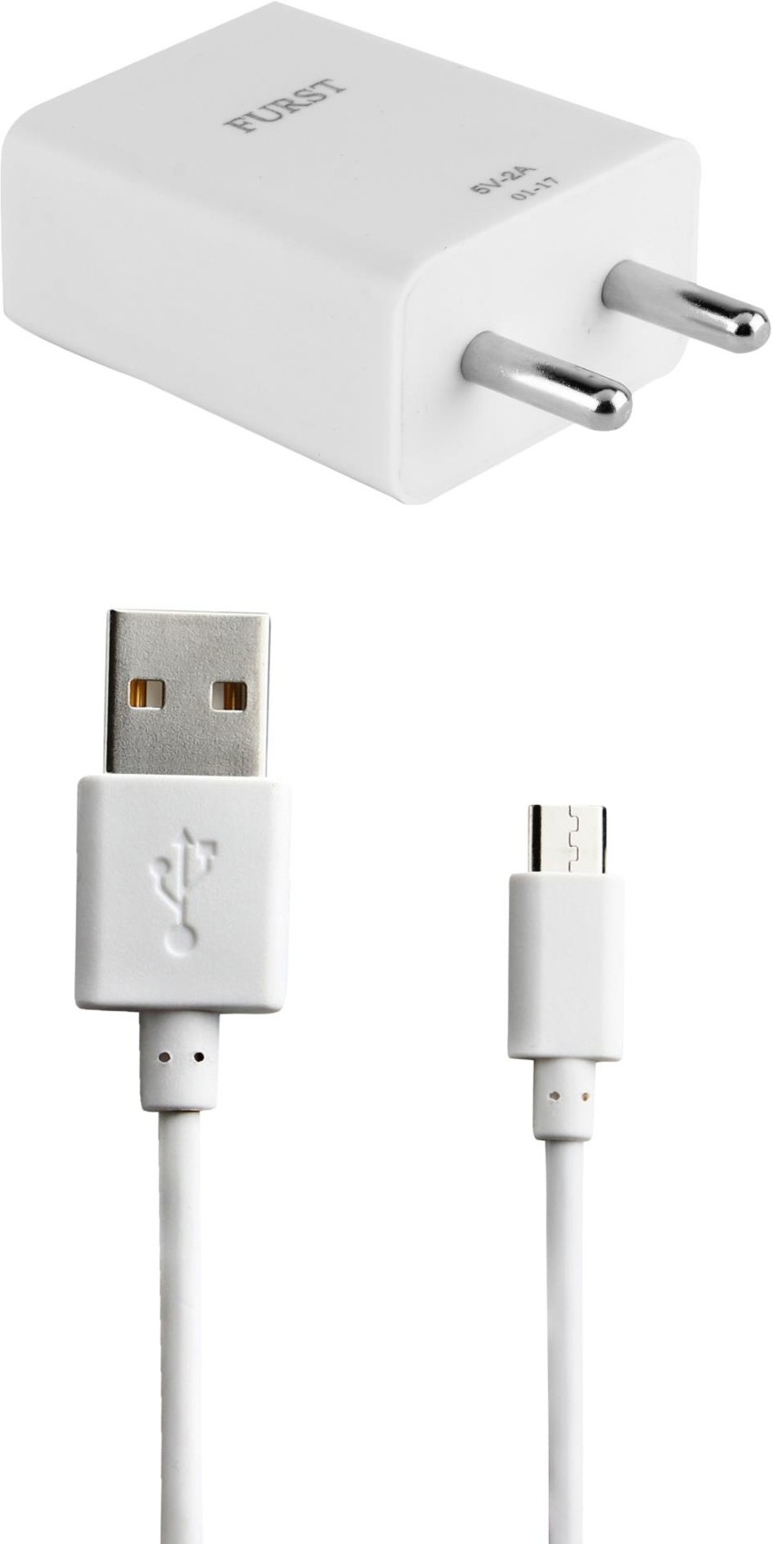Furst 2A. Fast Charger with Cable (1 Mtr) For Samsung Galaxy J7 Prime Mobile Charger(White)