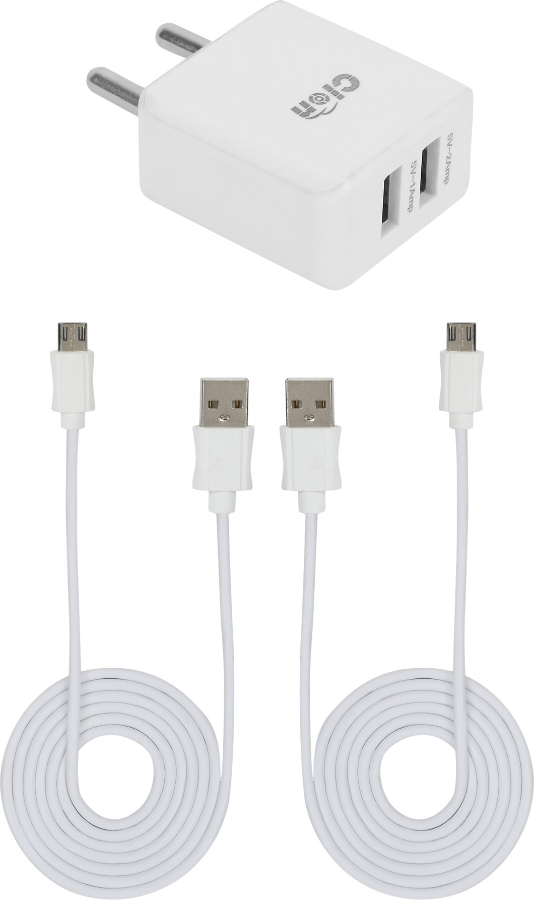 Cion Dual Port USB Adapter with 2 Data/Sync Cables (1 mtr) for K6 Mobile Charger(White)
