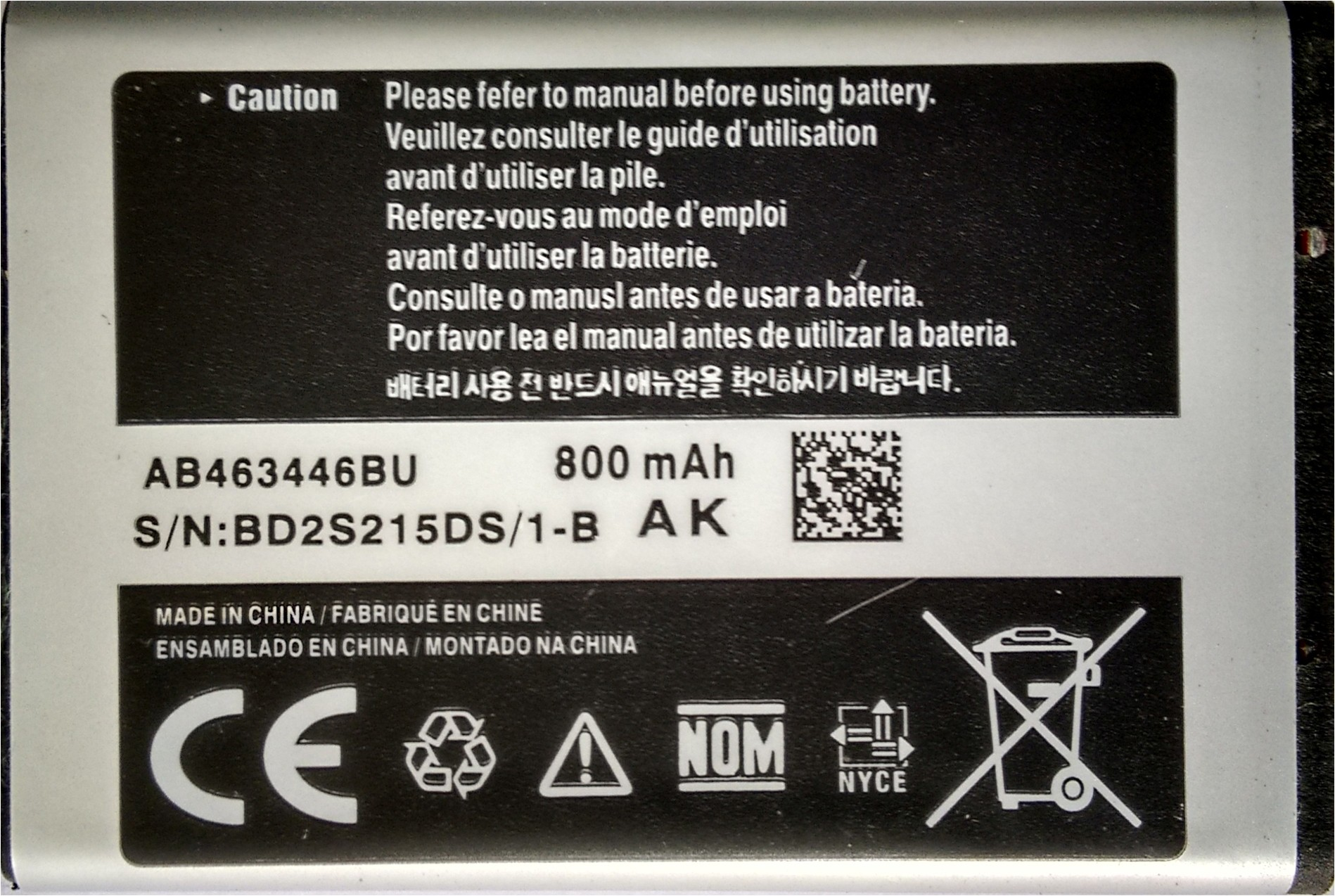 Devil Case  Battery - Good Quality- For C1250 AB463446BU(Black, Silver)