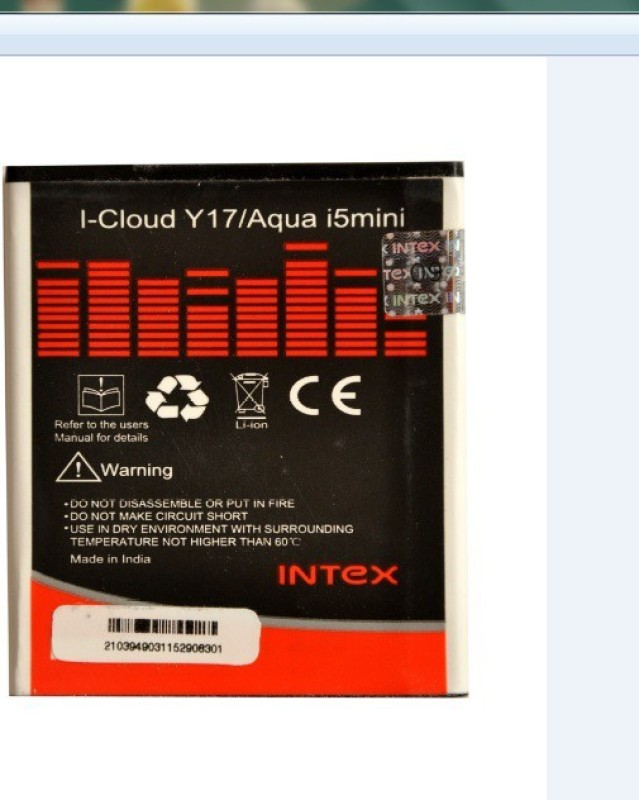 Intex  Battery - I-CLOUD Y-17/ AQUA I-5 MINI(Black, White)