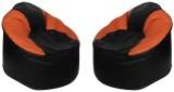 Star XXXL Bean Bag Cover (Black, Orange)
