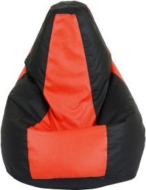 styleaf XXL Bean Bag With Bean Filling(Red, Black)