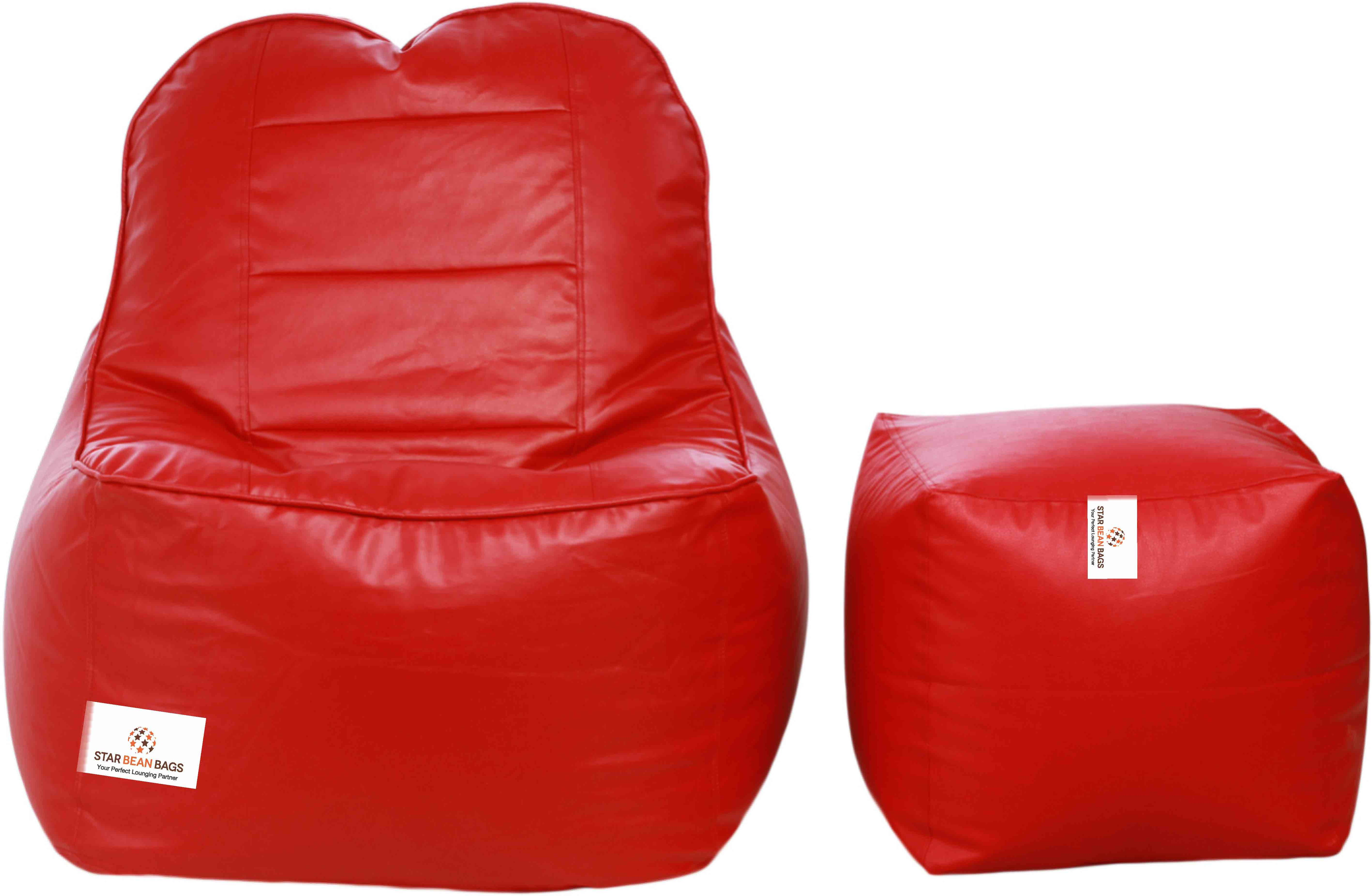 View Star XXXL Lounger Bean Bag  With Bean Filling(Red) Furniture (Star)