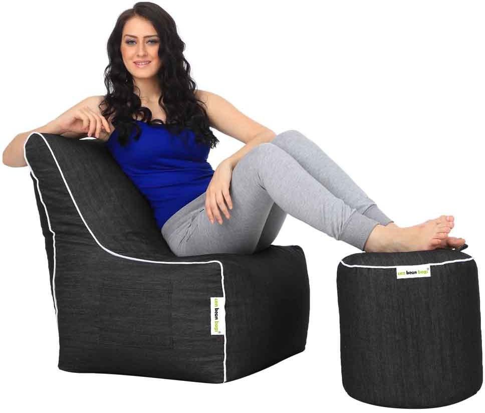 View Can Bean Bag XXXL Bean Chair Cover(Black) Furniture (Can bean bags)