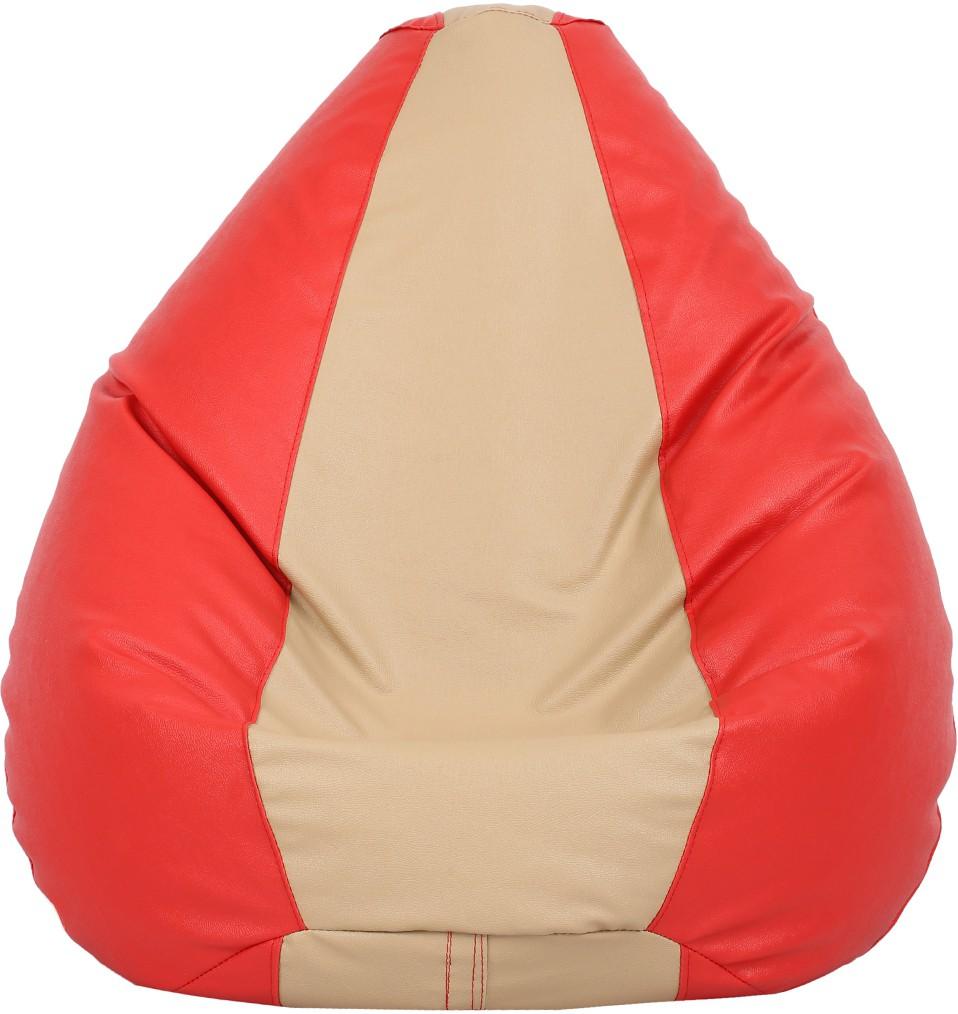 View VizwaSS XXXL Teardrop Bean Bag  With Bean Filling(Red, Beige) Furniture (VizwaSS)