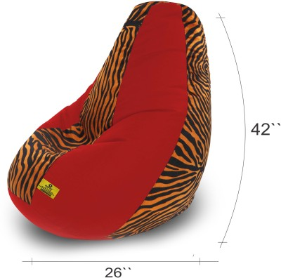 Dolphin Bean Bags XXL Dolphin Xxl Red/Golden Zebra-Fabric-Filled(With Beans) Bean Bag  With Bean Filling