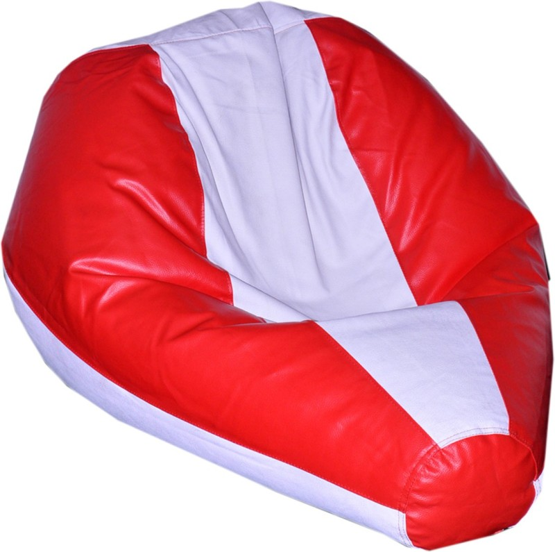 Comfy Bean Bags XXL Bean Bag  With Bean Filling(Red, White)