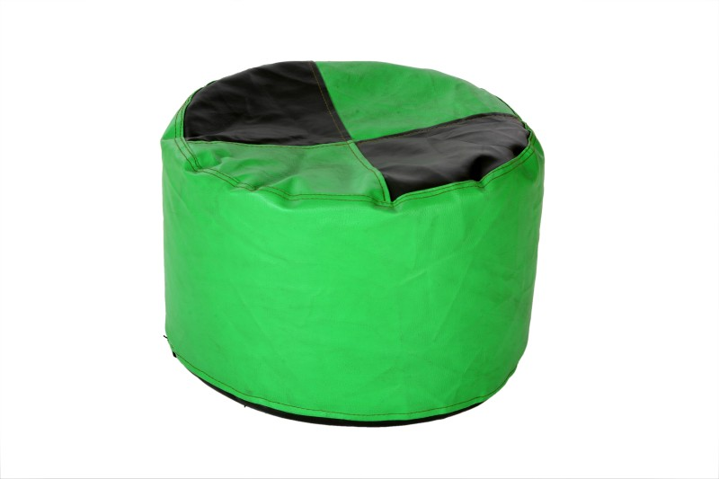 Comfy Bean Bags XL Bean Bag Footstool  With Bean Filling(Green, Black)