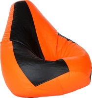 Comfy Bean Bags XL Teardrop Bean Bag  With Bean Filling(Black, Orange)