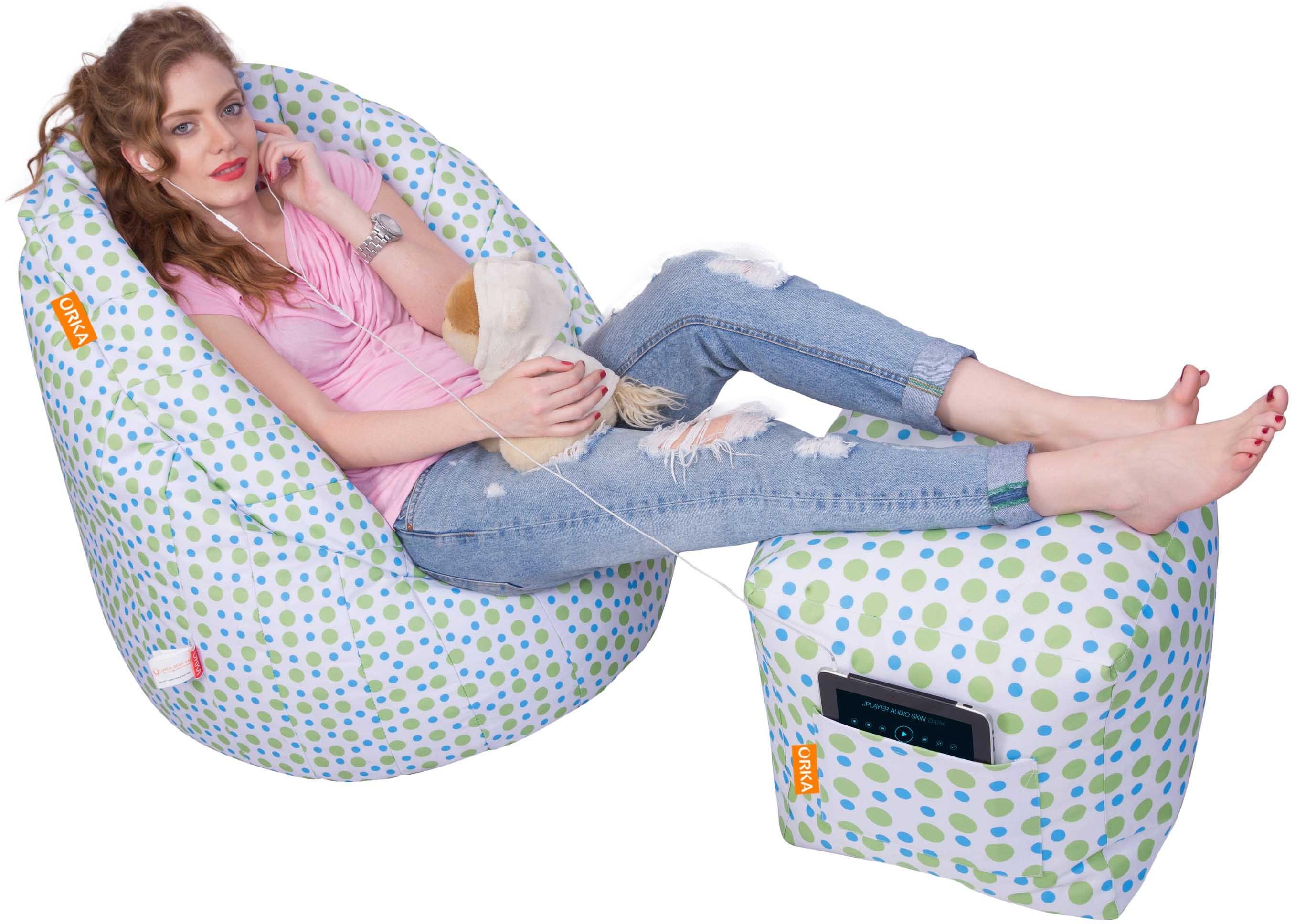 View Orka Bean Bags XXXL Bean Bag Cover(Green, White) Furniture (Orka Bean Bags)