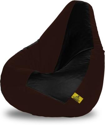 Dolphin Bean Bags XL Dolphin Xl Black&Brown Bean Bag-Filled(With Beans) Bean Bag  With Bean Filling
