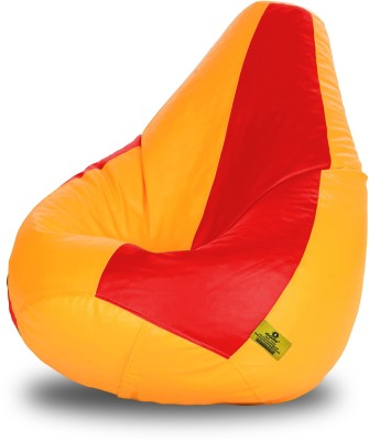 Dolphin Bean Bags XL Dolphin Xl Red&Yellow Bean Bag-Filled(With Beans) Bean Bag  With Bean Filling