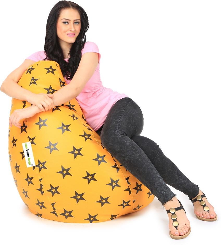 View Can Bean Bag XXXL Bean Bag  With Bean Filling(Orange, Black) Furniture (Can bean bags)