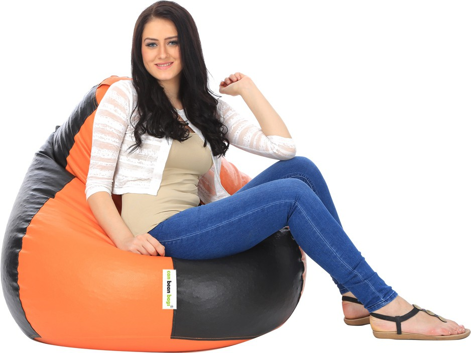 View Can Bean Bag XXL Bean Bag Cover(Orange, Black) Furniture (Can Bean Bag)