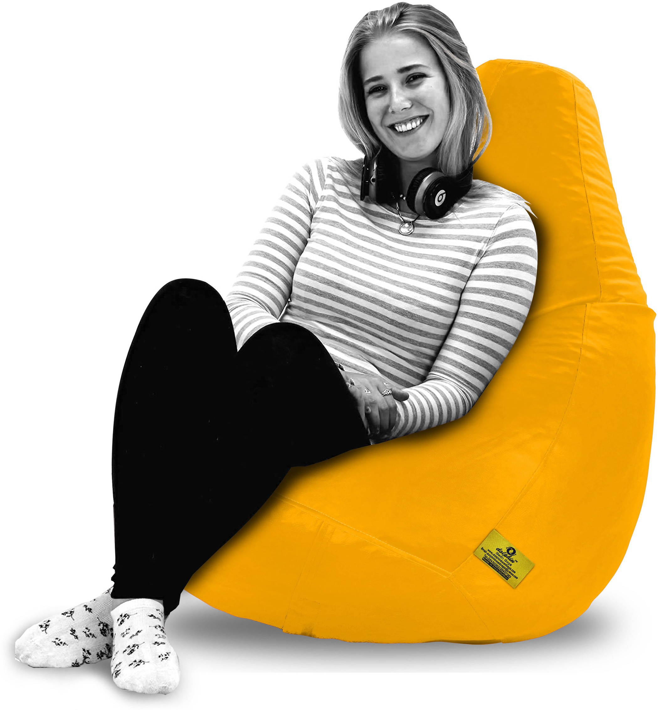 View Dolphin Bean Bags XXL Bean Bag  With Bean Filling(Yellow) Furniture (Dolphin Bean Bags)