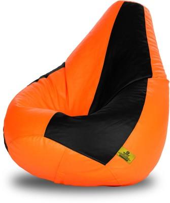 Dolphin Bean Bags XL Dolphin Xl Black&Orange Bean Bag-Filled(With Beans) Bean Bag  With Bean Filling
