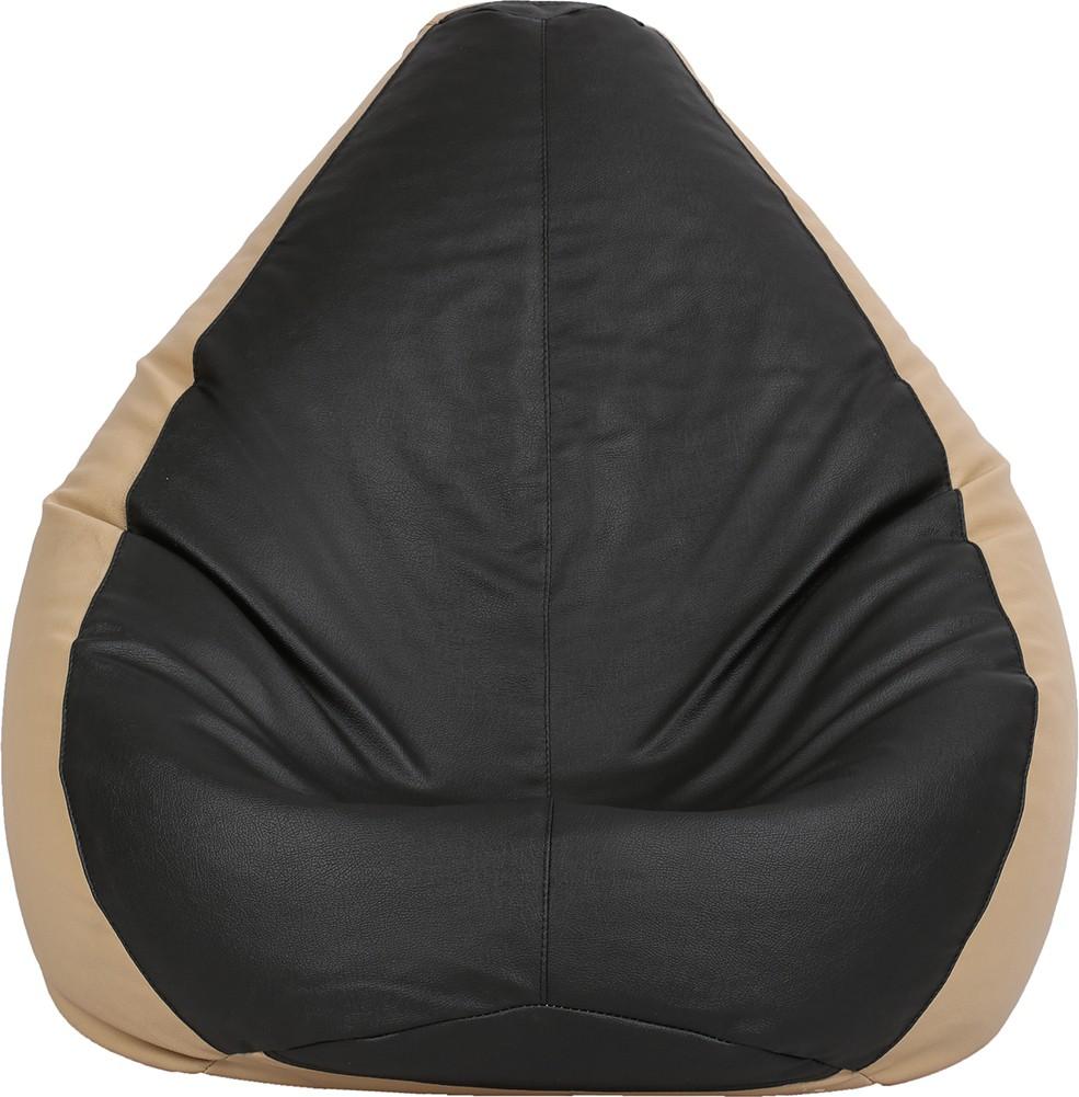 View VizwaSS XXXL Teardrop Bean Bag  With Bean Filling(Black, Beige) Furniture (VizwaSS)