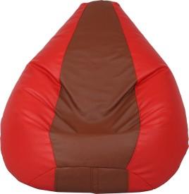 VizwaSS XL Teardrop Bean Bag With Bean Filling(Red, Brown)