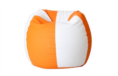 Comfy Bean Bags XL Bean Bag  With Bean Filling(White, Orange)