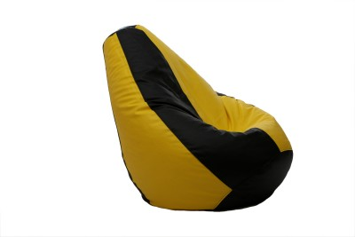 Comfy Bean Bags XXL Bean Bag  With Bean Filling(Black, Yellow)