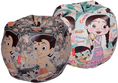 ORKA XXL Chhota Bheem Set of 2 - Digital Printed Bean Bag  Cover (Without Filling)