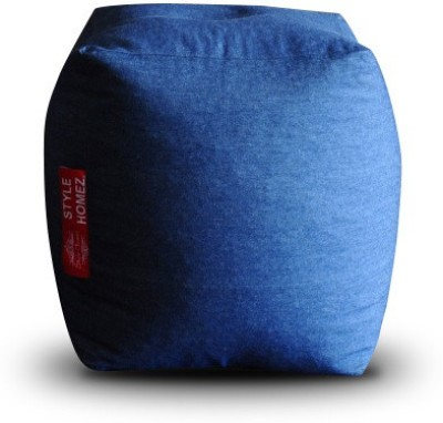 Style Homez Large Ottomans Bean Bag Footstool  With Bean Filling(Blue)