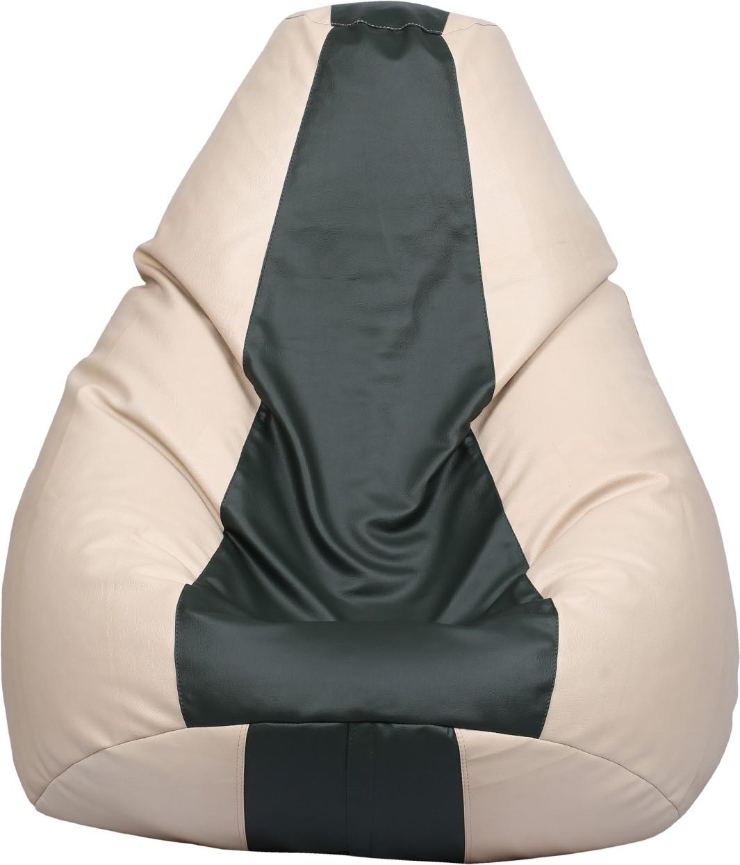 View VizwaSS XL Teardrop Bean Bag  With Bean Filling(Black, Beige) Furniture (VizwaSS)