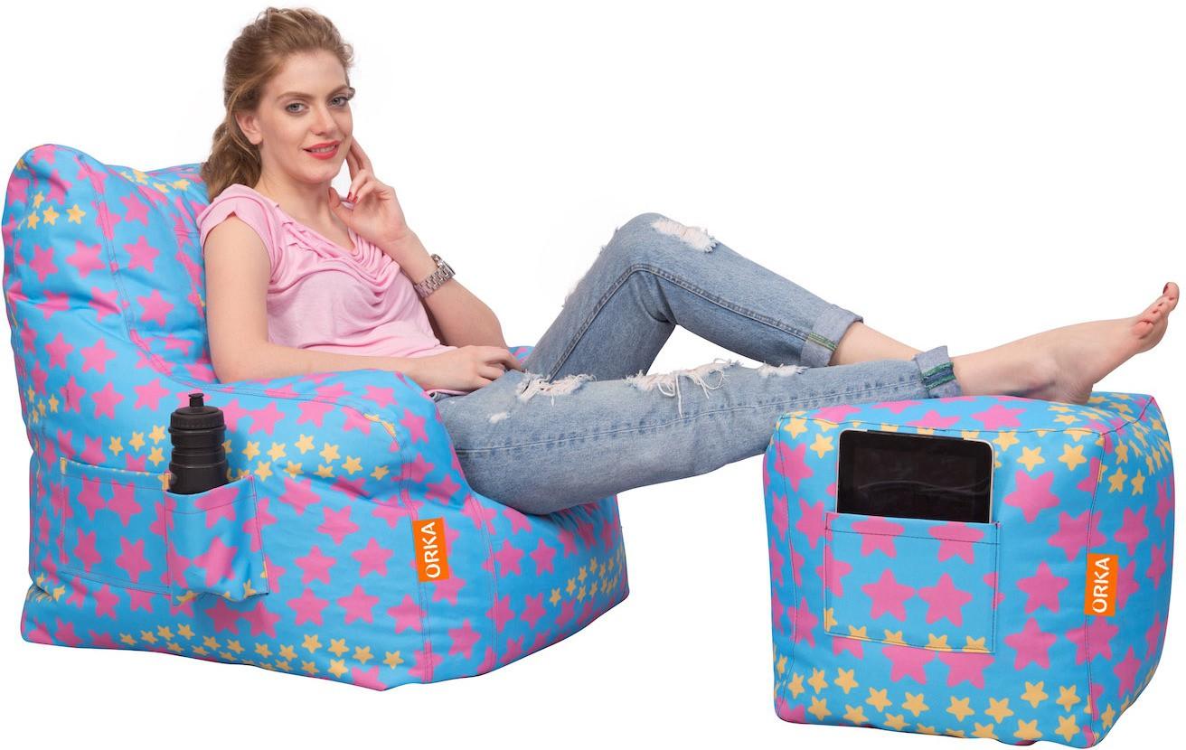 View Orka Bean Bags XXXL Bean Chair Cover(Blue, Red) Furniture (Orka Bean Bags)