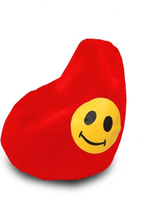 Dolphin Bean Bags XL Dolphin Xl Bean Bag Red-Smiley-Filled(With Beans) Bean Bag  With Bean Filling