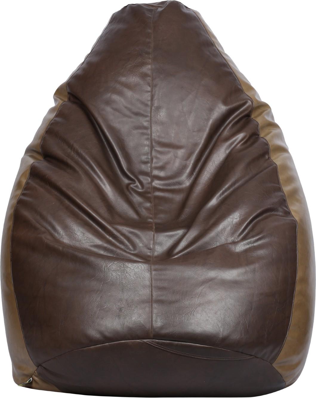 View VizwaSS XXXL Teardrop Bean Bag  With Bean Filling(Brown, Tan) Furniture (VizwaSS)