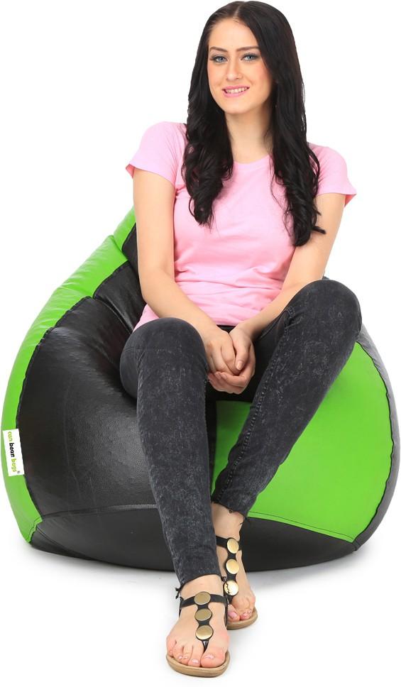 View Can Bean Bag XL Bean Bag  With Bean Filling(Green, Black) Furniture (Can bean bags)