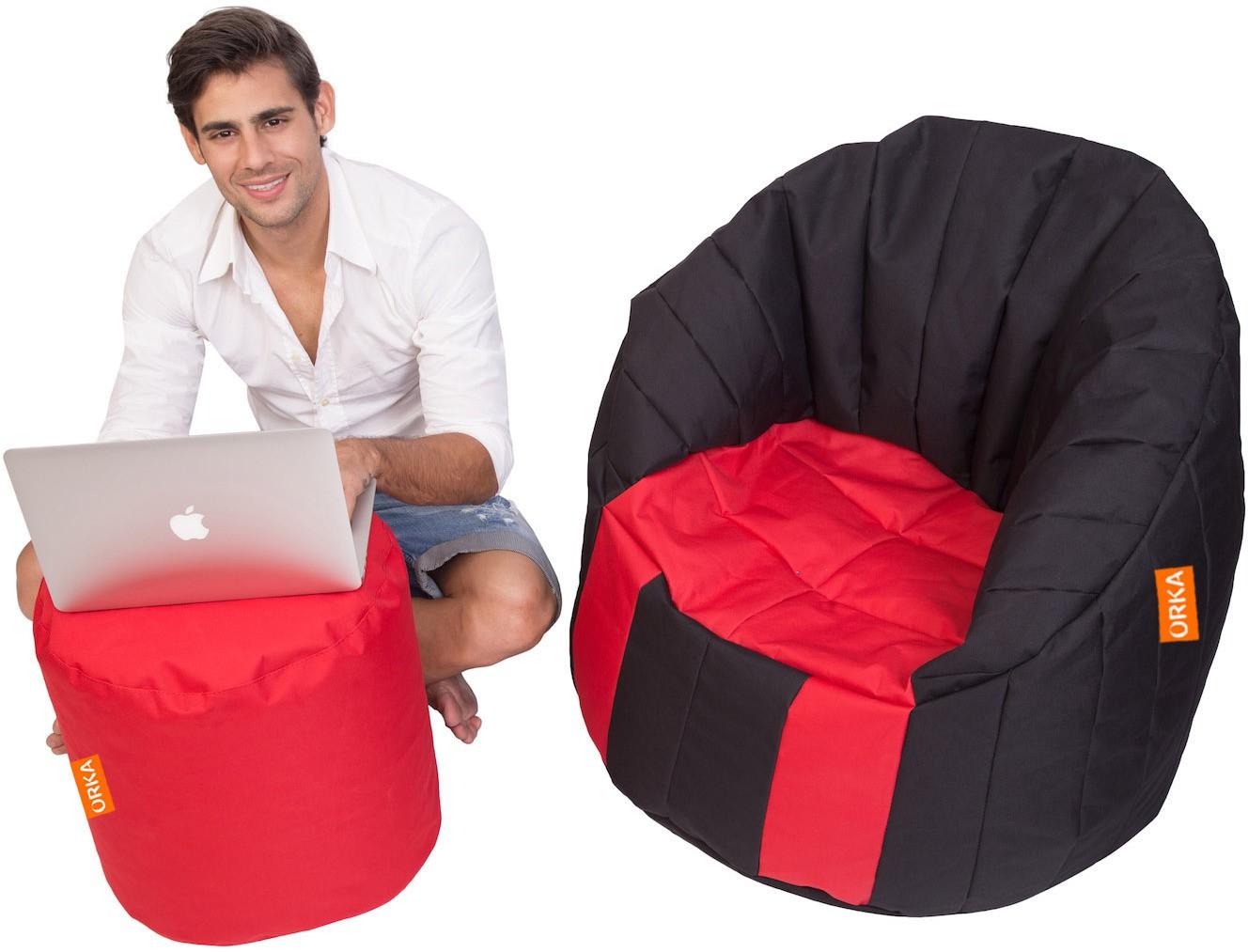 View Orka Bean Bags XXXL Bean Chair Cover(Black, Red) Furniture (Orka Bean Bags)