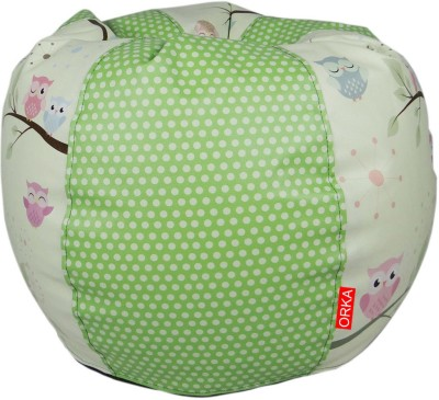 ORKA Owl Printed Filled with Beans Leatherette S Teardrop Kid Bean Bag(Bead Filling, Color - Multicolor)