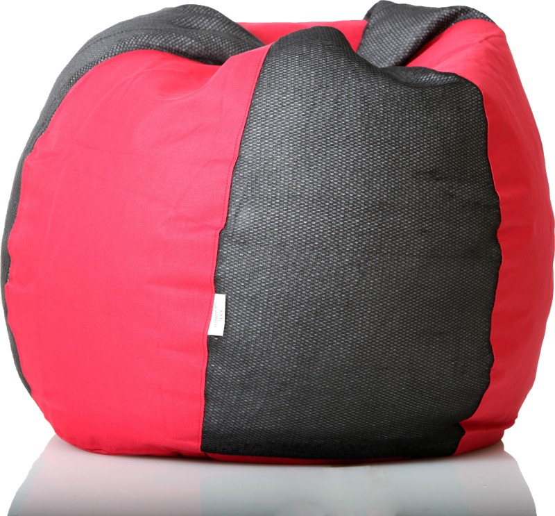 Comfy Bean Bags XL Bean Bag  With Bean Filling(Black, Red)