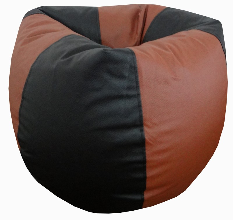 ORKA XL Classic Bean Bag With Bean Filling(Black, Tan)