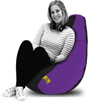 Dolphin Bean Bags XL Dolphin Xl Black/Purple-Fabric-Filled(With Beans) Bean Bag  With Bean Filling