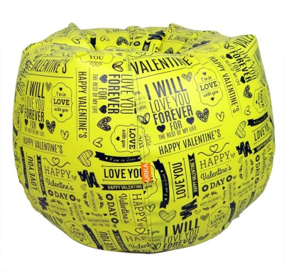 ORKA XXL Bean Bag  With Bean Filling(Yellow)