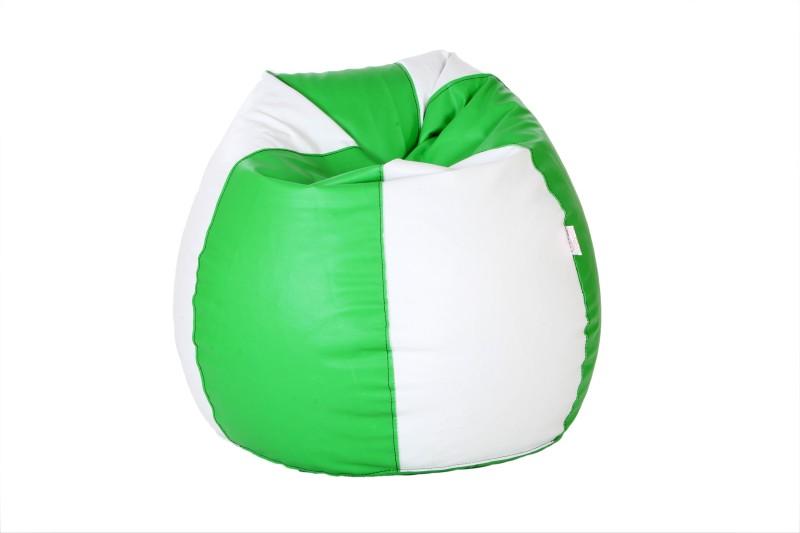 Comfy Bean Bags XXL Bean Bag  With Bean Filling(Green, White)