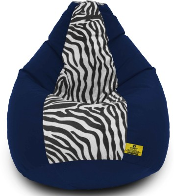 Dolphin Bean Bags XXL Dolphin Xxl N.Blue/Zebra(Blk-White)-Fabric-Filled(With Beans) Bean Bag  With Bean Filling