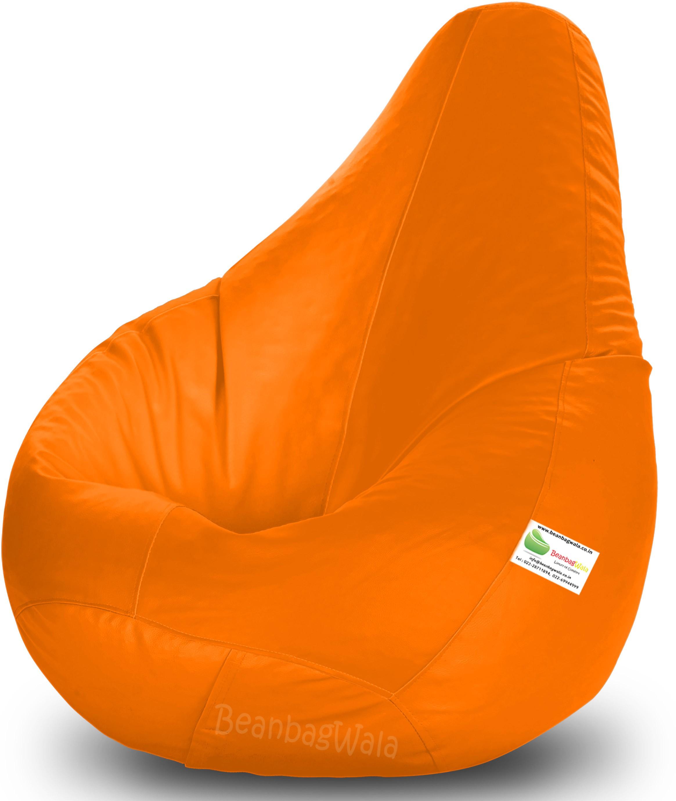 View Bean Bagwala XXL Bean Bag  With Bean Filling(Orange) Price Online(Bean Bagwala)