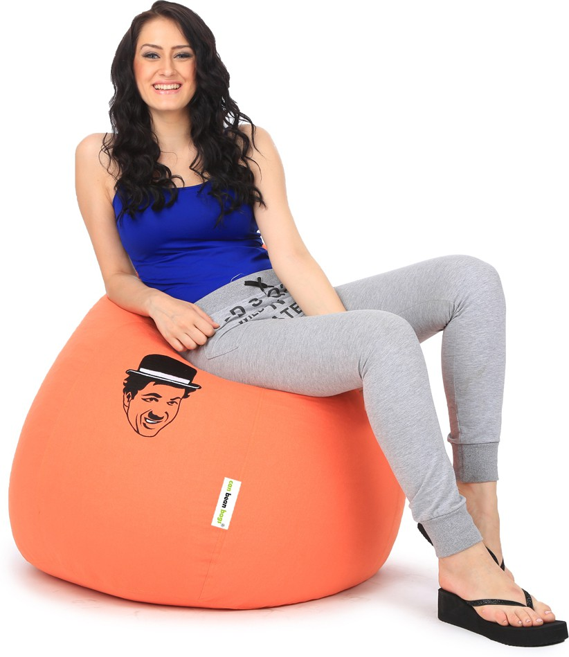 View Can Bean Bag XXL Bean Bag  With Bean Filling(Orange) Furniture (Can Bean Bag)