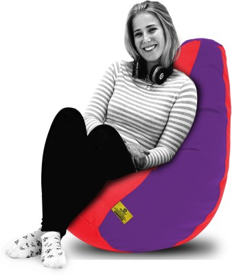Dolphin Bean Bags XL Dolphin Xl Red/Purple-Fabric-Filled(With Beans) Bean Bag  With Bean Filling