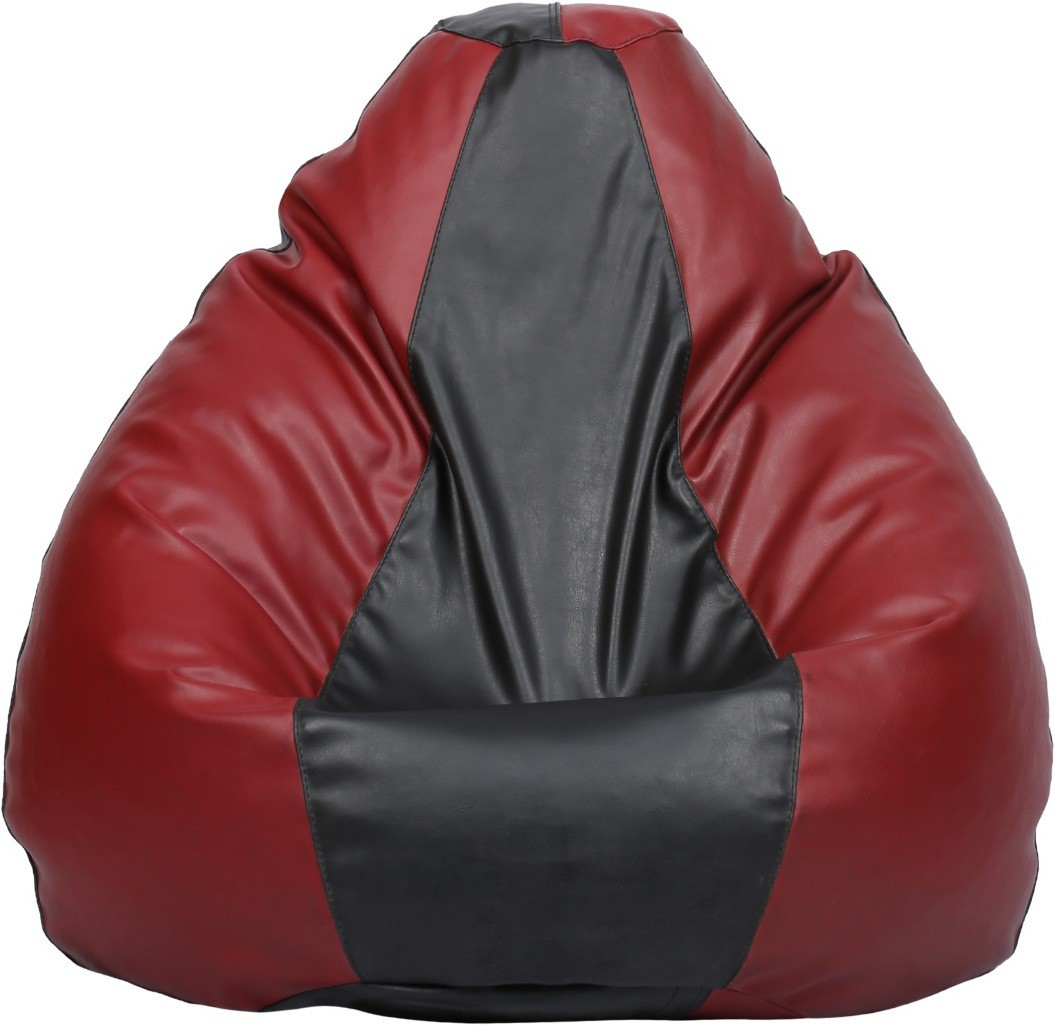 View VizwaSS Small Teardrop Bean Bag  With Bean Filling(Maroon, Black) Furniture (VizwaSS)