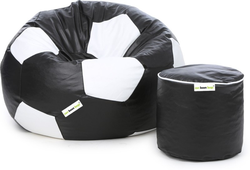 Can Bean Bag XXL Bean Bag With Bean Filling(Black, White)