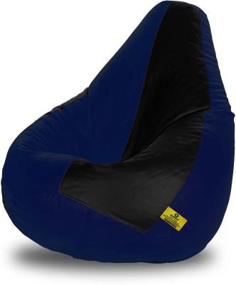 Dolphin Bean Bags XL Dolphin Xl Black&N.Blue Bean Bag-Filled(With Beans) Bean Bag  With Bean Filling